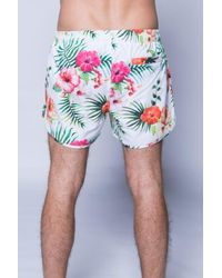 11 Degrees - Blue Printed Retro Swimshort for Men - Lyst