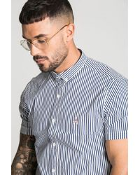 ACES Couture Blue Short Sleeve Pinstripe Shirt for men