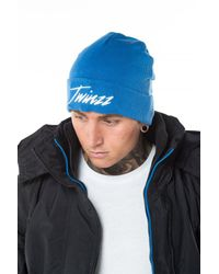 Twinzz - Blue Lightning Script Beanie for Men - Lyst