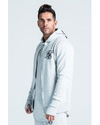 Siksilk - Gray Long Zip Hoodie for Men - Lyst