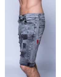 11 Degrees | Blue Destrukt Shorts for Men | Lyst