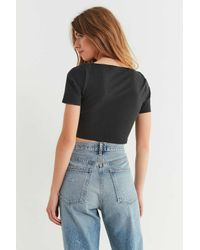 Urban Outfitters - Black Uo Tessa Tie-front Cropped Top - Lyst