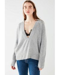 Urban Outfitters - Gray Uo Deep V Pullover Sweater - Lyst