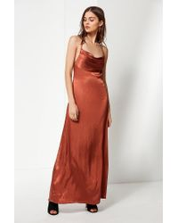 029cf7cead4 Urban Outfitters Uo Cowl Neck Silk Maxi Dress in Orange - Lyst