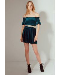 Urban Outfitters - Blue Uo Clara Off-the-shoulder Smocked Velvet Dress - Lyst