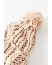 Urban Outfitters - Brown Chunky Knit Pompom Beanie - Lyst