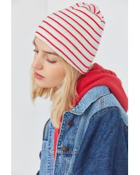 Urban Outfitters | Red Basic Striped Beanie | Lyst