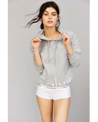 Calvin Klein | Gray Modern Cotton-Blend Hooded Sweatshirt | Lyst
