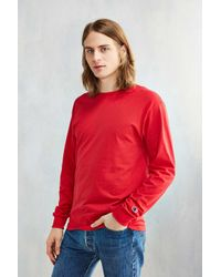 Champion Red Long-sleeve Tee for men