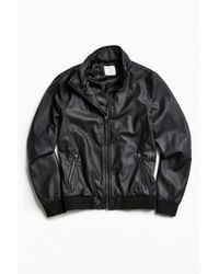 Urban Outfitters   Black Uo Faux Leather Zip Collar Track Jacket for Men   Lyst