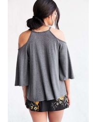 Silence + Noise - Gray Sofia Cold Shoulder Top - Lyst