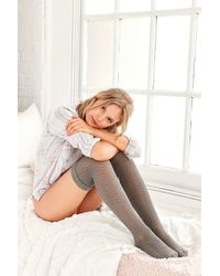 Urban Outfitters | Gray Crochet Double Cuff Over-the-knee Sock | Lyst