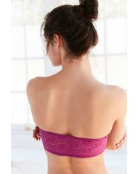 Urban Outfitters - Pink Basic Lace Bandeau Bra - Lyst