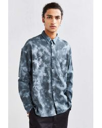 Urban Outfitters   Gray Uo Acid Bleached Drop Shoulder Flannel Button-down Shirt for Men   Lyst
