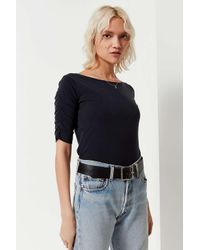 Urban Outfitters - Black Uo Ruched Short Sleeve Tee - Lyst