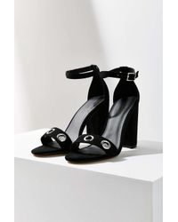 Urban Outfitters | Black Thin Ankle Strap Grommet Heel | Lyst