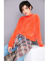 Silence + Noise | Orange Velvet Chenille Pullover Sweater | Lyst