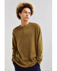 Urban Outfitters | Green Uo Nelson Waffle Thermal Henley Long Sleeve Tee for Men | Lyst