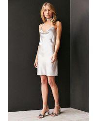 Bardot - Metallic Mercury Satin Cowl-neck Mini Slip Dress - Lyst