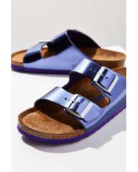 Birkenstock   Purple Metallic Arizona Soft Footbed Slide   Lyst