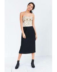 Kimchi Blue   Black Alexis Shimmer Pleat Midi Skirt   Lyst