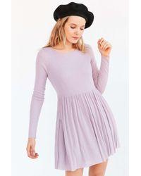 Kimchi Blue | Black Vidal Cozy Long-sleeve Babydoll Mini Dress | Lyst