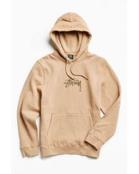 Stussy | Brown Stock Embroidered Hoodie Sweatshirt for Men | Lyst