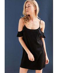Kimchi Blue | Black Silky Flutter Sleeve Cold-shoulder Mini Dress | Lyst