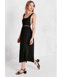 Silence + Noise | Black Strappy Mesh Inset Midi Dress | Lyst