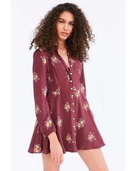 Kimchi Blue | Red Sabrina Floral Long-sleeve Mini Shirt Dress | Lyst