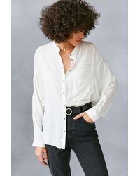 BDG   White Gridlock Band Collar Button-down Shirt   Lyst