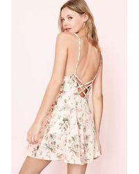 Kimchi Blue | Pink Marjery Printed Knit Fit + Flare Mini Dress | Lyst