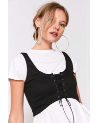 Silence + Noise | Black Faith Lace-up Bustier Cropped Top | Lyst
