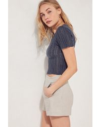 Kimchi Blue - Blue Pointelle Cropped Sweater - Lyst