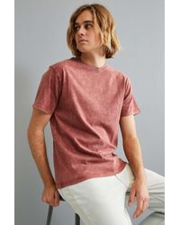 Urban Outfitters | Red Uo Crinkled Standard Fit Tee for Men | Lyst