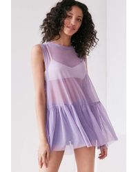 Truly Madly Deeply | Purple Mesh Babydoll Tank Top | Lyst