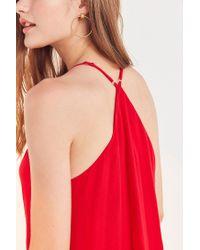 Ecote - Red Gauzy Button-front Racerback Mini Dress - Lyst