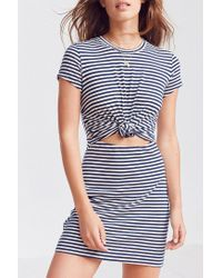 6444cceaa33 Lyst - Silence + Noise Knotted T-shirt Dress in Blue