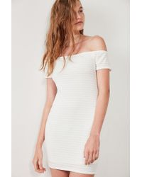 Silence + Noise | White Shadow Striped Off-the-shoulder Bodycon Dress | Lyst