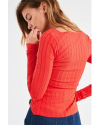 Silence + Noise - Red Delaney Surplice Sweater - Lyst
