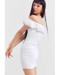 Silence + Noise - White Off-the-shoulder Ruffle Ponte Dress - Lyst