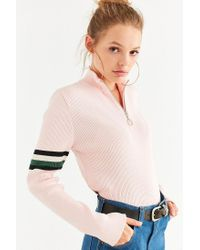 Silence + Noise Pink Molly Half-zip Sweater