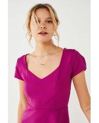 Urban Outfitters - Purple Uo Maria Short Sleeve Ponte Mini Dress - Lyst