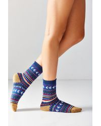 Out From Under - Intarsia Blue Crew Socks - Lyst