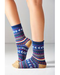 Out From Under | Intarsia Blue Crew Socks | Lyst