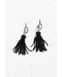Urban Outfitters | Metallic Yara Chain Black Tassel Statement Earrings | Lyst