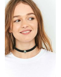 Urban Outfitters | Metallic Shell Oval Suedette Choker Necklace | Lyst