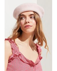 Urban Outfitters - Pink Slouchy Felt Beret - Lyst