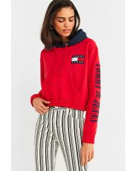 4a7d7a367ba Tommy Hilfiger. Women s Red Tommy Jeans  90s Contrast Cropped Hoodie  Sweatshirt