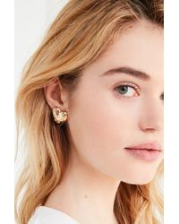 Urban Outfitters - Metallic Quilted Heart Post Earring - Lyst